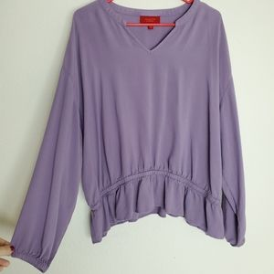 Jennifer Lopez Purple Longsleeve V-Neck Top